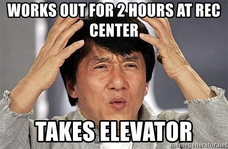 Jackie Chan - Works out for 2 hours at rec center takes elevator