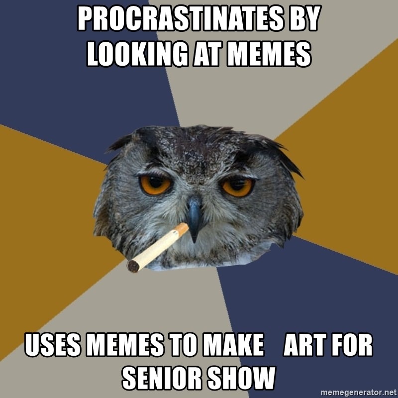 Art Student Owl - Procrastinates by          looking at memes uses memes to make    art for senior show