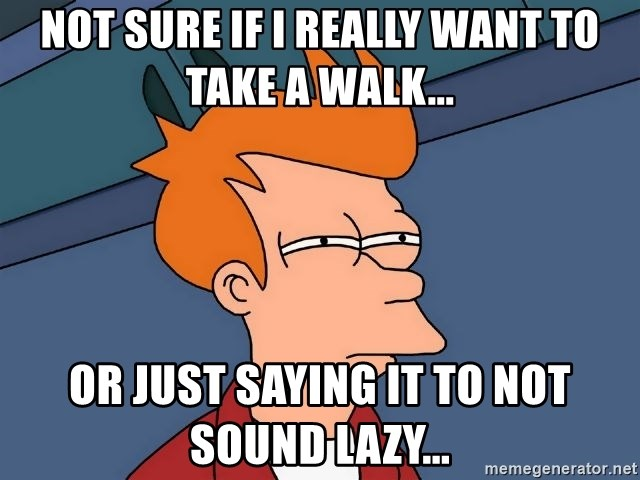 Futurama Fry - Not Sure if I really Want to take a walk... or just saying it to not sound lazy...