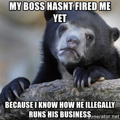 Confession Bear - My boss hasnt fired me yet Because i know how he illegally runs his business