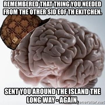 Scumbag Brain - Remembered that thing you needed from the other sid eof th ekitchen. Sent you around the island the long way - again.