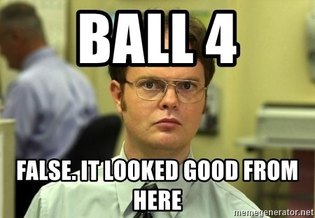 Dwight Schrute - ball 4 false. it looked good from here