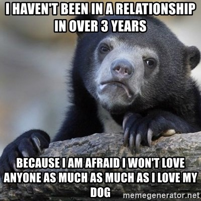 Confession Bear - I haven't been in a relationship in over 3 years because I am afraid I won't love anyone as much as much as I love my dog