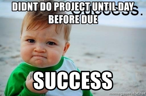 success baby - didnt do project until day before due success