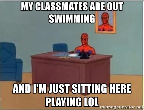 Spiderman Desk - MY CLASSMATES ARE OUT SWIMMING AND I'M JUST SITTING HERE PLAYING LOL