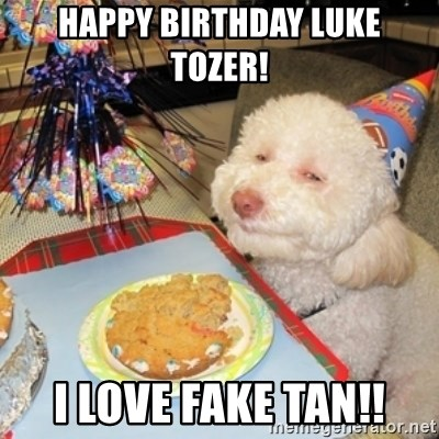 Birthday dog - Happy birthday Luke Tozer! I love fake tan!!