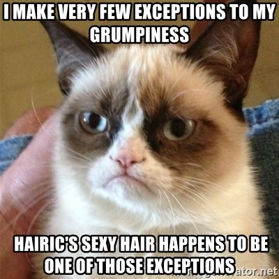 Grumpy Cat  - I make VERY few exceptions to My Grumpiness  Hairic's Sexy Hair happens to be one of those exceptions