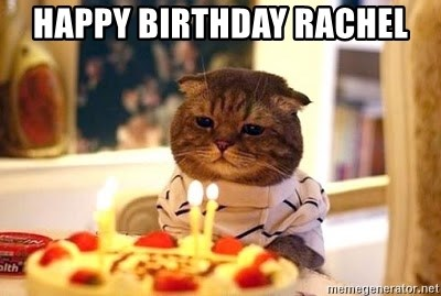 Birthday Cat - Happy Birthday Rachel