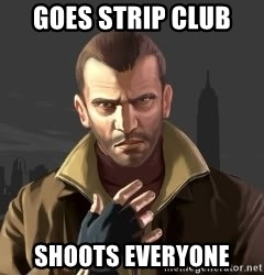 GTA - GOES STRIP CLUB  shoots everyone