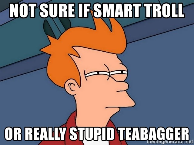Futurama Fry - Not sure if smart troll or really stupid teabagger