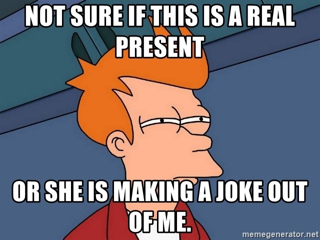 Futurama Fry - not sure if this is a real present or she is making a joke out of me.