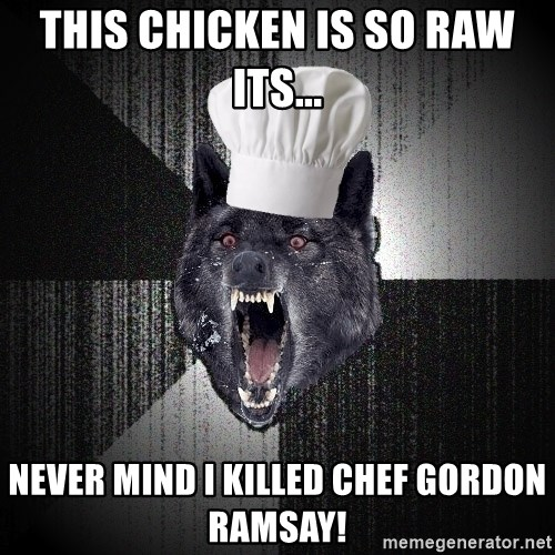 Insanity Wolf - This chicken is so raw its... never mind i killed chef gordon ramsay!