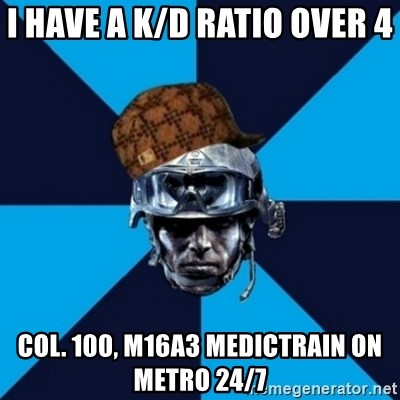 Scumbag Battlefield 3 Guy - I have a K/D Ratio over 4  Col. 100, M16A3 Medictrain on Metro 24/7
