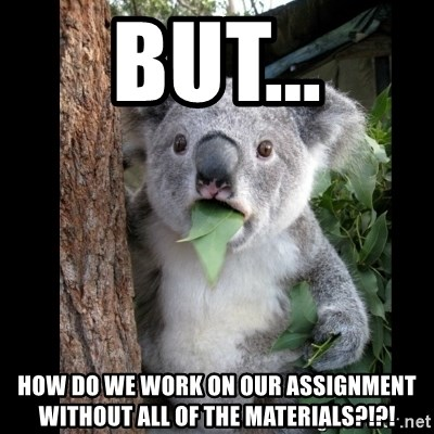 Koala can't believe it - But... How do we work on our assignment without all of the materials?!?!