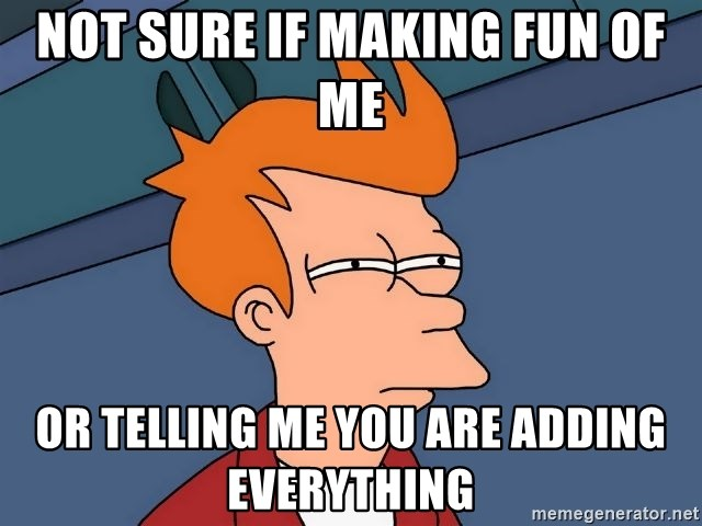 Futurama Fry - Not sure if making fun of me or telling me you are adding everything