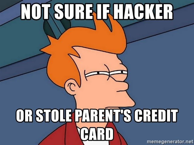 Futurama Fry - not sure if hacker or stole parent's credit card