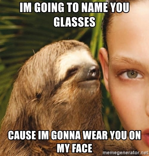 The Rape Sloth - im going to name you glasses  cause im gonna wear you on my face