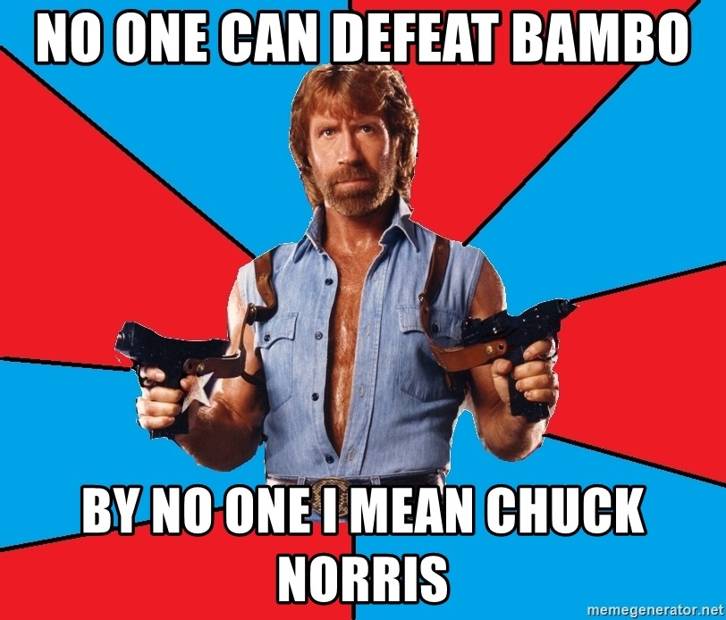 Chuck Norris  - No one can defeat bambo By no one I mean chuck norris