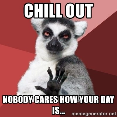 Chill Out Lemur - Chill out nobody cares how your day is...