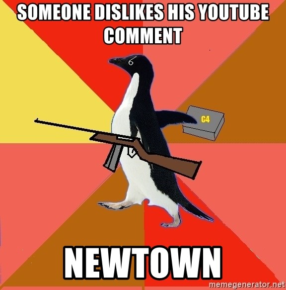 Socially Fed Up Penguin - someone dislikes his youtube comment newtown
