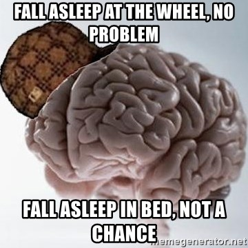 Scumbag Brain - Fall asleep at the wheel, no problem Fall asleep in bed, not a chance