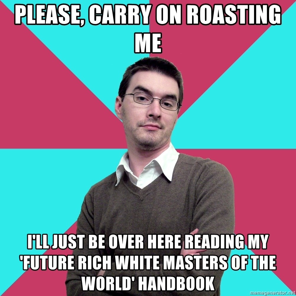 Privilege Denying Dude - please, carry on roasting me I'll just be over here reading my 'future rich white masters of the world' handbook