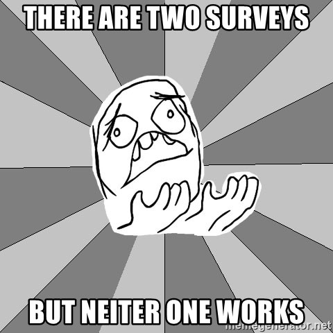 Whyyy??? - THere are two surveys but neiter one works