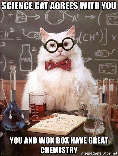 Science Cat - Science cat agrees with you You and wok Box have great chemistry