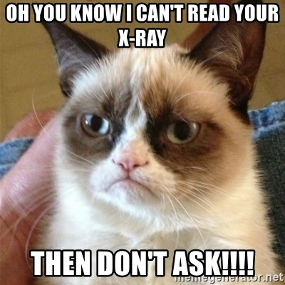 Grumpy Cat  - oh You know I can't read your x-ray Then don't ask!!!!