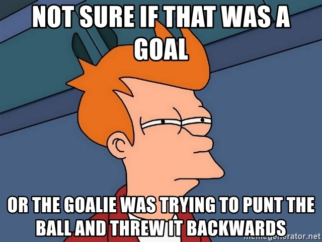 Futurama Fry - Not sure if that was a goal or the goalie was trying to punt the ball and threw it backwards