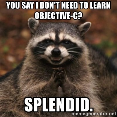 evil raccoon - You say I don't need to learn Objective-C? Splendid.