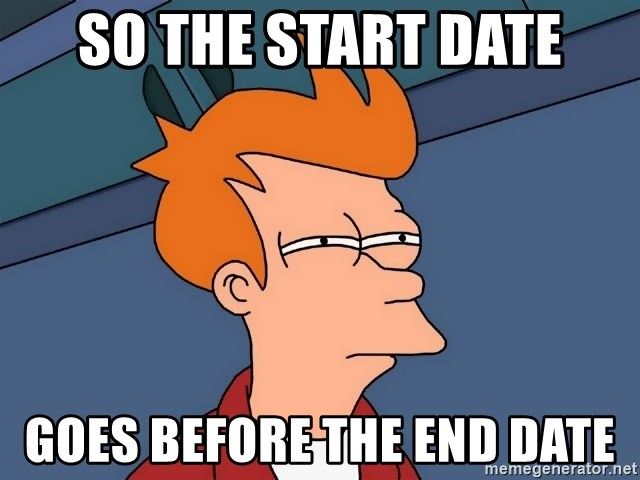 Futurama Fry - So the start date goes before the end date