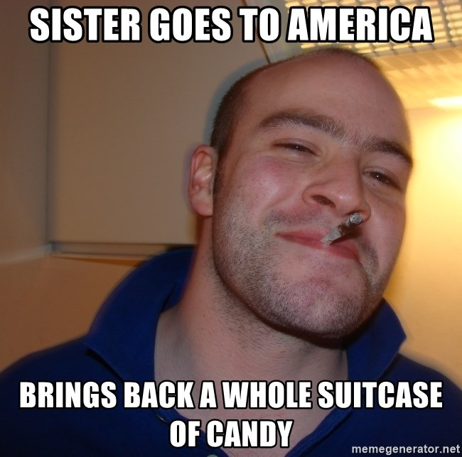 Good Guy Greg - sister goes to america brings back a whole suitcase of candy