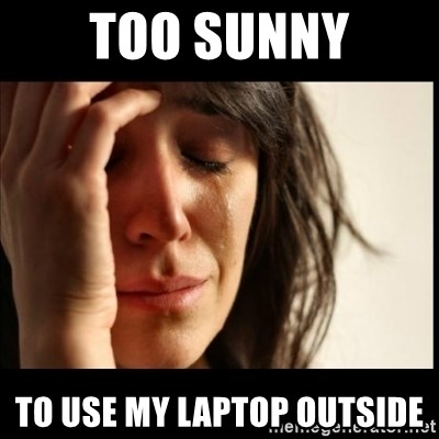 First World Problems - Too Sunny To use my Laptop Outside