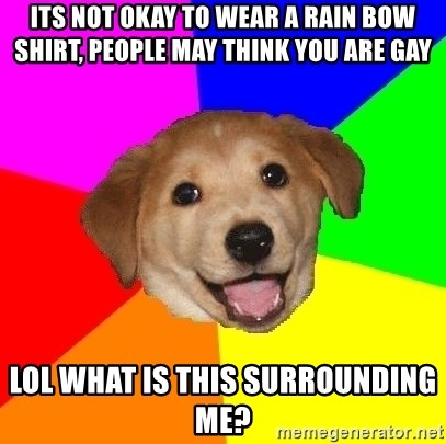 Advice Dog - its not okay to wear a rain bow shirt, people may think you are gay lol what is this surrounding me?