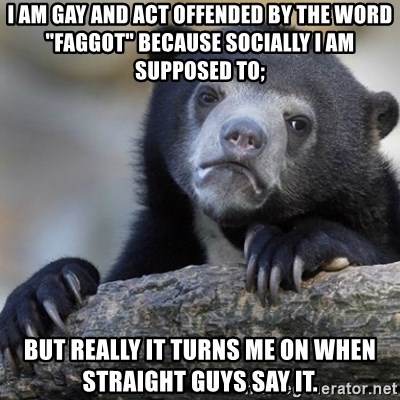 "Confession Bear - I am gay and act offended by the word ""faggot"" because socially i am supposed to; but really it turns me on when straight guys say it."