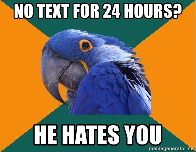 Paranoid Parrot - no text for 24 hours? he hates you
