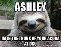 Sexual Sloth - ASHLEY IM IN THE TRUNK OF YOUR ACURA AT DSU