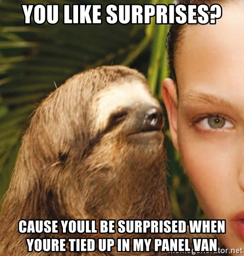 The Rape Sloth - you like surprises? cause youll be surprised when youre tied up in my panel van