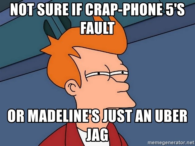 Futurama Fry - Not sure if crap-phone 5's fault or madeline's just an uber jag