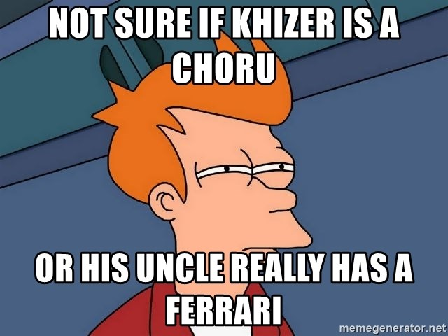 Futurama Fry - not sure if khizer is a choru or his uncle really has a ferrari