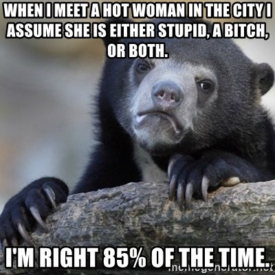 Confession Bear - When I meet a hot woman in the city I assume she is either stupid, a bitch, or both. I'm right 85% of the time.