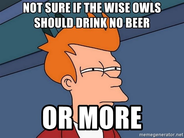 Futurama Fry - Not sure if thE wise owls shoUld driNk no beeR Or more