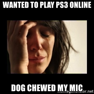 todays problem crying woman - wanted to play ps3 online dog chewed my mic
