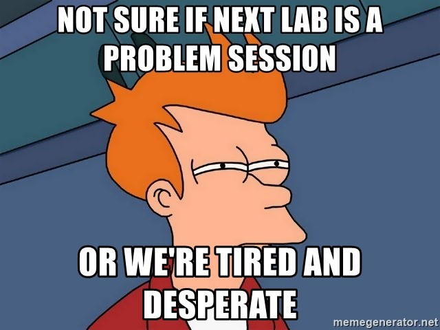 Futurama Fry - Not sure if next Lab is a problem session or we're tired and desperate