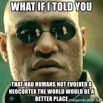 What If I Told You - WHAT IF I TOLD YOU THAT HAD HUMANS NOT EVOLVED A NEOCORTEX THE WORLD WOULD BE A BETTER PLACE