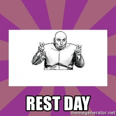 'dr. evil' air quote -  rest day