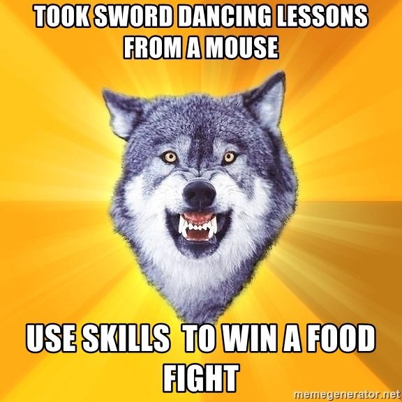 Courage Wolf - Took Sword Dancing Lessons from a Mouse USE Skills  To WIN A FOOD FIGHT