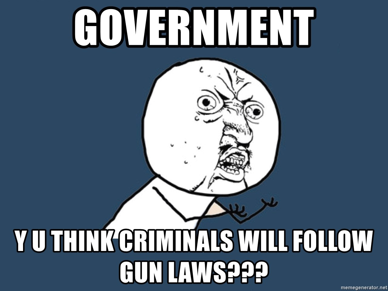 Y U No - government y u think criminals will follow gun laws???
