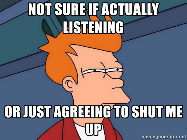 Futurama Fry - Not sure if actually listening or just agreeing to shut me up